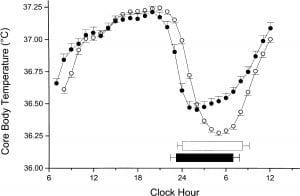 Core body temperature circadian rhythm