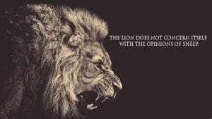 The lion doesn't concern itself with the opinions of sheep.