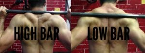 squat high bar low bar