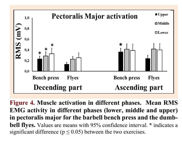 Pecs EMG activity barbell bench press vs flys